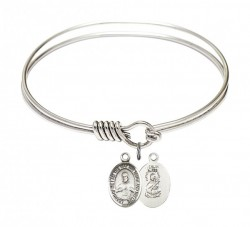 Smooth Bangle Bracelet with a Scapular Charm [BRS9098]