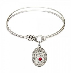 Smooth Bangle Bracelet with a Scapular Charm [BRST063]