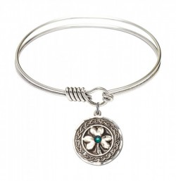 Smooth Bangle Bracelet with a Shamrock with Celtic Border Charm [BRST051]
