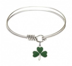 Smooth Bangle Bracelet with a Shamrock Charm [BRS5243]