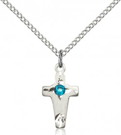 Square Edge Child's Cross Pendant with Birthstone Options [BLST2527]