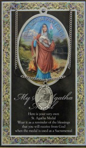 St. Agatha Medal in Pewter with Bi-Fold Prayer Card [HPM009]