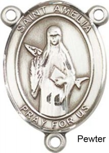 St. Amelia Rosary Centerpiece Sterling Silver or Pewter [BLCR0411]