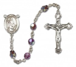 St. Amelia Sterling Silver Heirloom Rosary Fancy Crucifix [RBEN1074]