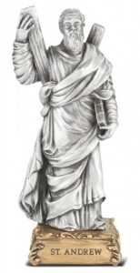 Saint Andrew Pewter Statue 4 Inch [HRST404]