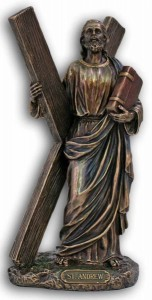 St. Andrew Statue, Bronzed Resin - 8 inches [GSS033]