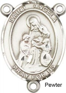 St. Angela Merci Rosary Centerpiece Sterling Silver or Pewter [BLCR0382]