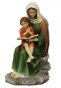 St. Anne with Mary Statue, Hand Painted - 8 inch [GSS075]