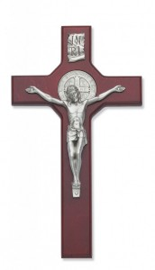 St. Benedict 10 1/2 inch Silver Tone Stained Cherry Wood Wall Crucifix [CRX3201]