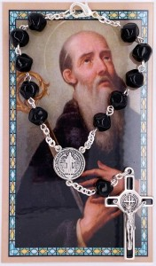 St. Benedict Black Glass Auto Rosary with Prayer Card [AUM001]