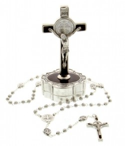 St. Benedict Crucifix Keepsake Box and Rosary [SFA0017]