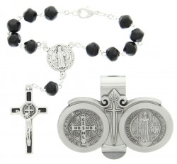 St. Benedict Matching Auto Rosary and Visor Clip Set, Pewter, 7mm beads [AU0123]