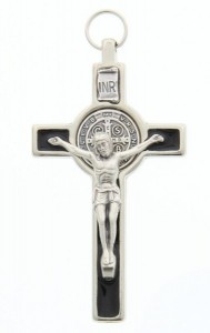"St. Benedict Silver with Black Enamel Pectoral Crucifix 3"" [SFA0018]"