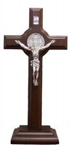 "St. Benedict Standing Crucifix Dark Brown 9"" [SFA0015]"