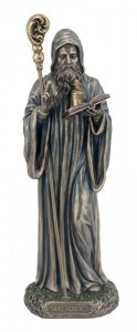 St. Benedict Statue, Bronzed Resin - 8 inches [GSS034]