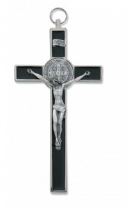 St. Benedict Wall Crucifix with Black Epoxy 8 inch [CRX3864]