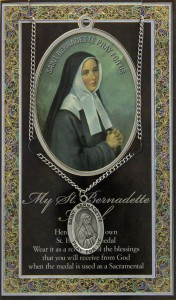 St. Bernadette Medal in Pewter with Bi-Fold Prayer Card [HPM012]