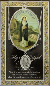 St. Brigid Medal in Pewter with Bi-Fold Prayer Card [HPM013]