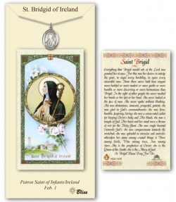St. Brigid of Ireland Medal in Pewter with Prayer Card [BLPCP054]