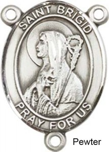 St. Brigid of Ireland Rosary Centerpiece Sterling Silver or Pewter [BLCR0288]
