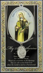 St. Catherine of Siena Medal in Pewter with Bi-Fold Prayer Card [HPM015]