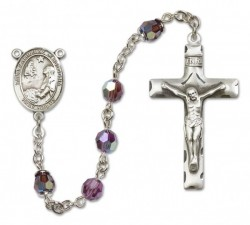 St. Catherine of Bologna Sterling Silver Heirloom Rosary Squared Crucifix [RBEN0112]