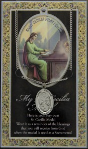 St. Cecilia Medal in Pewter with Bi-Fold Prayer Card [HPM016]