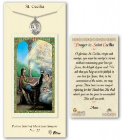 St. Cecilia Medal in Pewter with Prayer Card [BLPCP040]