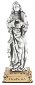 Saint Cecilia Pewter Statue 4 Inch [HRST420]