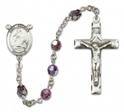 St. Charles Borromeo Sterling Silver Heirloom Rosary Squared Crucifix [RBEN0118]