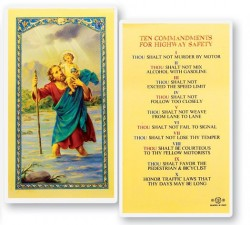 St. Christopher 10 Commandments of the Highway Laminated Prayer Cards 25 Pack [HPR625]
