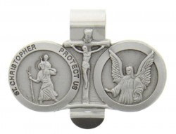 St. Christopher & Guardian Angel Auto Visor Clip Pewter [AU1028]