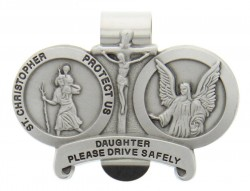 St. Christopher & Guardian Angel Protect My Daughter Visor Clip [AU1020]