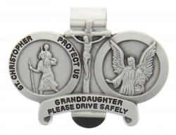 St. Christopher & Guardian Angel Protect My Granddaughter Visor Clip Pewter [AU1029]