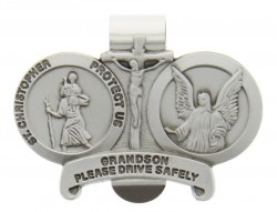 "St. Christopher & Guardian Angel Protect My Grandson Visor Clip, Pewter - 2 1/2""W [AU1030]"