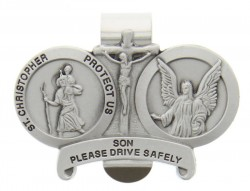 St. Christopher & Guardian Angel Protect My Son Visor Clip Pewter [AU1019]