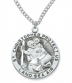 St. Christopher Land, Sea, Air Medal Sterling Silver - 1 1/8 inch [MVM1014]