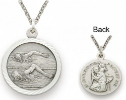 St. Christopher Male Swimming Sports Medal with Chain [SM0046]