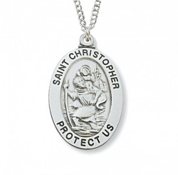 Boys Wide Oval St. Christopher Medal Sterling Silver - 1 1/16 inch [MVM1008]