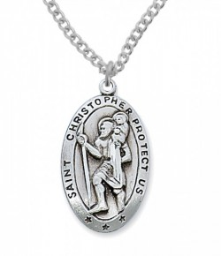Men's St. Christopher Medal Sterling Silver - 1 1/8 inch [MVM1013]