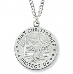 Women's Round St. Christopher Medal Sterling Silver [MVM1000]