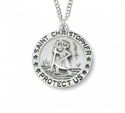 Small Women's St. Christopher Medal Sterling Silver  [MVM1004]