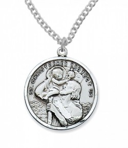 Men's Round St. Christopher Medal Sterling Silver [MVM1019]