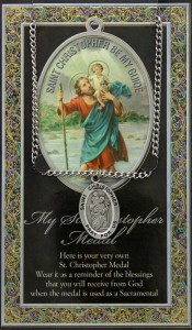 St. Christopher Medal in Pewter with Bi-Fold Prayer Card [HPM059]