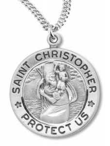 Traditional Round St. Christopher Necklace [RE0003]