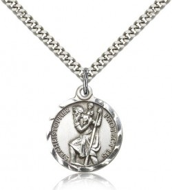Textured Border St. Christopher Necklace - Nickel Size [CM2116]