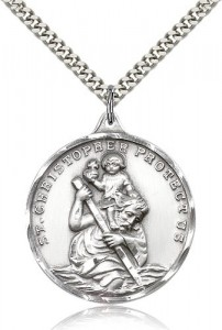 Men's Large Round Saint Christopher Necklace [CM2136]
