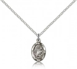 Women's Scalloped Edge Petite St. Christopher Necklace [CM2178]