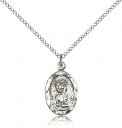 Women's Medium Size Oval St. Christopher Necklace [CM2277]