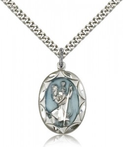 Scalloped Edge Blue Enamel Center St. Christopher Necklace [BM0662]